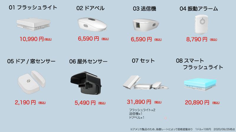インターフォンとアクセサリーの価格